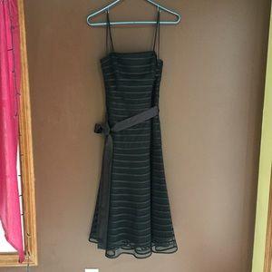 Black Spaghetti Strap Multi-Textured Dress